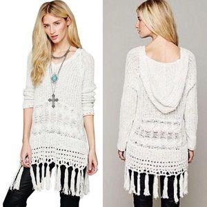 Free People RARE Santa Rosa Hooded Fringe Sweater